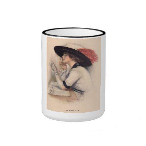 Mujer hermosa que vota - moda del sufragio del taza a dos colores