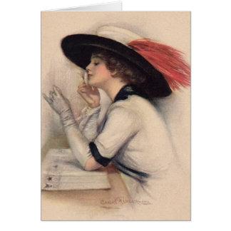 Mujer hermosa que vota - moda del sufragio del vin tarjeta de felicitación