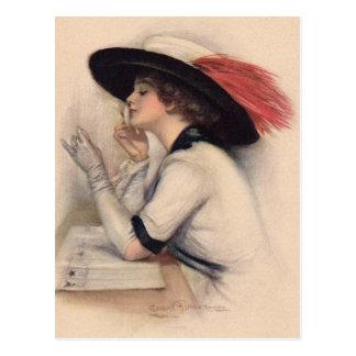Mujer hermosa que vota - moda del sufragio del vin postal