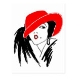 Mujer hermosa Red Hat del art déco Postal