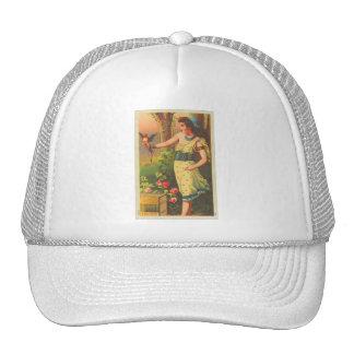 Mujer hermosa retra del vintage con la tarjeta del gorras de camionero