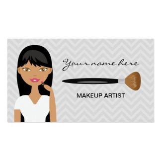 Mujer hispánica con el artista de maquillaje largo plantillas de tarjetas personales