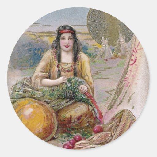 Mujer india con acción de gracias del vintage de pegatina redonda