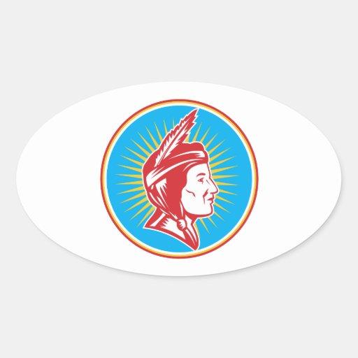 Mujer india de la india del nativo americano pegatina ovalada