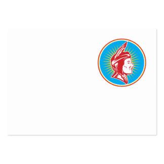 Mujer india de la india del nativo americano tarjetas de visita grandes