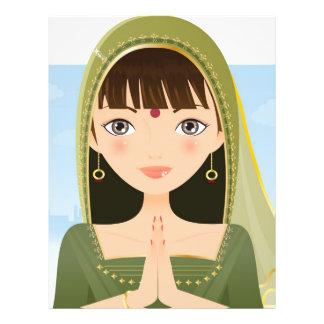 Mujer india tarjetas informativas