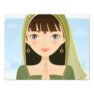 """Mujer india invitación 4.25"""" x 5.5"""""""