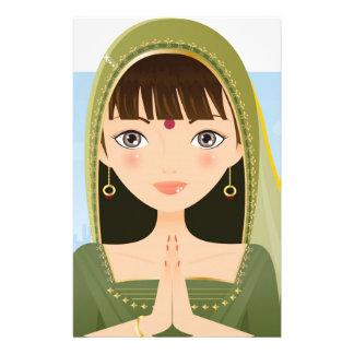 Mujer india papelería personalizada