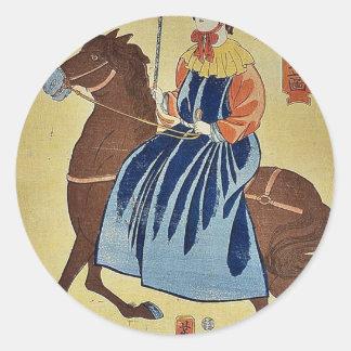Mujer inglesa que goza por Utagawa, Yoshitora Pegatina Redonda
