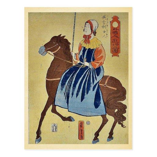 Mujer inglesa que goza por Utagawa, Yoshitora Tarjetas Postales
