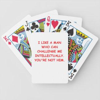 mujer intelectual baraja de cartas