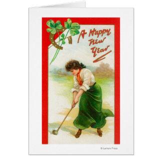 Mujer irlandesa alrededor para golpear la pelota d tarjeta de felicitación