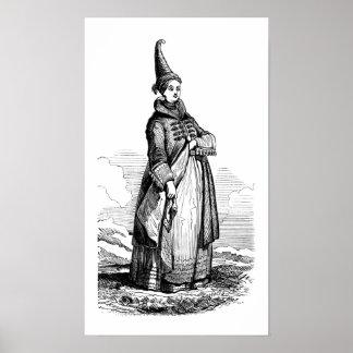 Mujer islandesa que lleva un vestido tradicional impresiones