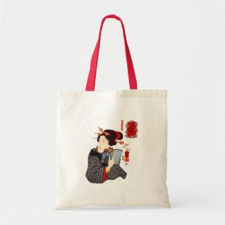 Mujer japonesa 2 de lectura bolsa tela barata
