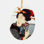 Mujer japonesa 2 de lectura ornamento para reyes magos