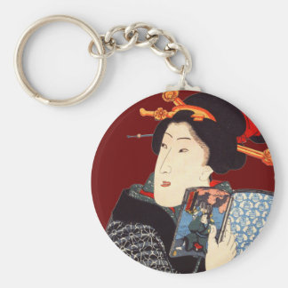 Mujer japonesa 2 de lectura llaveros