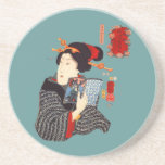Mujer japonesa 2 de lectura posavaso para bebida