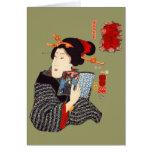 Mujer japonesa 2 de lectura tarjeta