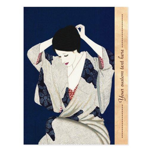 Mujer japonesa clásica de la señora del pelo de Ta Postal