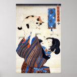 Mujer japonesa con el gato, Utagawa Kuniyoshi Póster