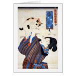 Mujer japonesa con el gato, Utagawa Kuniyoshi Tarjeton