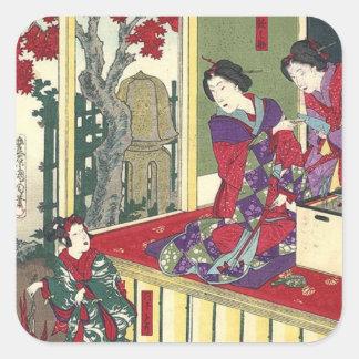 Mujer japonesa elegante del tiempo del té pegatina cuadrada
