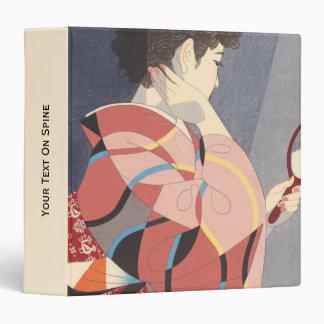 """Mujer japonesa en el kimono que sostiene un espejo carpeta 1 1/2"""""""