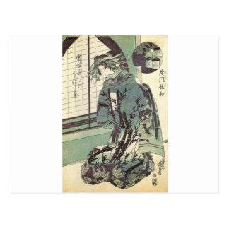 Mujer japonesa en kimono hermoso circa 1820 tarjetas postales