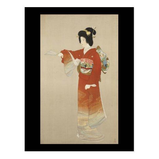 Mujer japonesa en kimono tarjeta postal