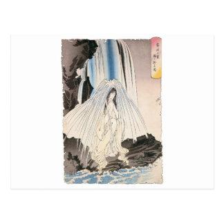 Mujer japonesa en la cascada, arte japonés antiguo tarjeta postal