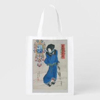 Mujer japonesa en la nieve (impresión del bolsa reutilizable