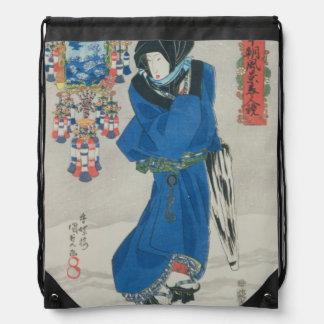 Mujer japonesa en la nieve (impresión del woodbloc mochila