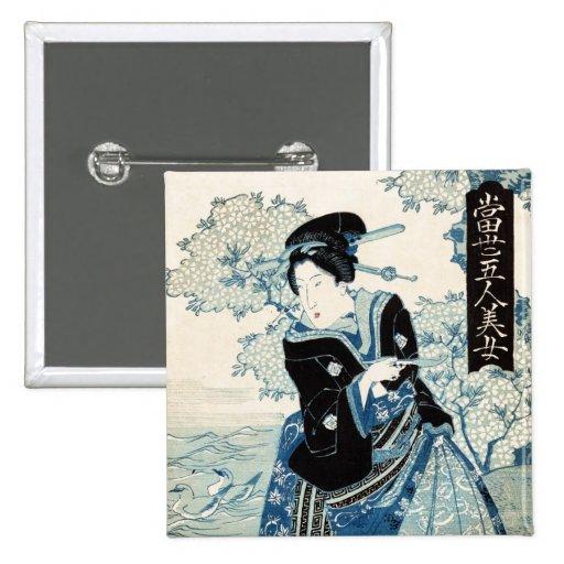 Mujer japonesa fresca de la señora del geisha del  pin cuadrada 5 cm