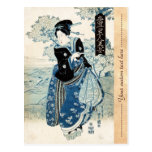 Mujer japonesa fresca de la señora del geisha del  tarjeta postal