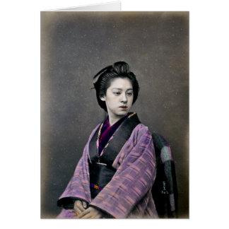 Mujer japonesa hermosa 1870 tarjeta de felicitación