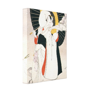 Mujer japonesa hermosa con la impresión del paragu lona estirada galerías