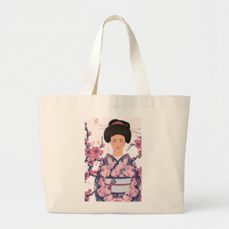 Mujer japonesa ilustrada bolsa de tela grande