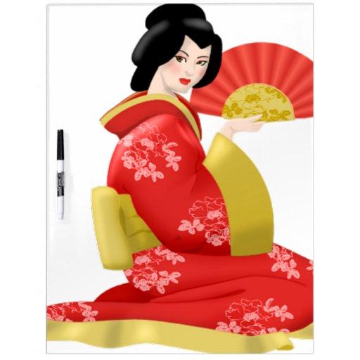 Mujer japonesa magnífica pizarra blanca