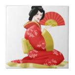 Mujer japonesa magnífica teja  ceramica