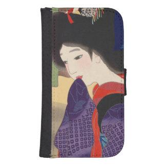 Mujer japonesa Maiko de la señora del geisha de la Funda Tipo Cartera Para Galaxy S4