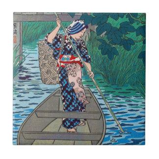 Mujer japonesa oriental fresca de la pesca del bar azulejo cuadrado pequeño