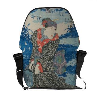 Mujer japonesa por el mar (impresión del woodblock bolsas de mensajeria