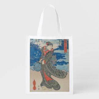 Mujer japonesa por el mar (impresión del woodblock bolsas reutilizables