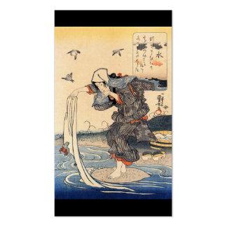 Mujer japonesa que hace el lavadero en el río C. Tarjetas De Visita