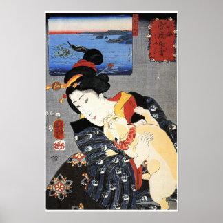 Mujer japonesa que sostiene el gato póster