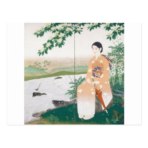 mujer japonesa tarjetas postales