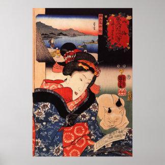Mujer japonesa y gato que leen el papel póster