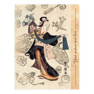 Mujer japonesa y marioneta del ukiyo-e clásico del postal