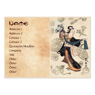 Mujer japonesa y marioneta del ukiyo-e clásico del tarjeta de negocio