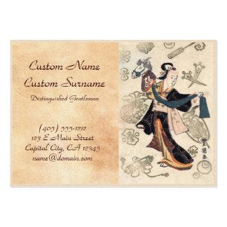 Mujer japonesa y marioneta del ukiyo-e clásico del tarjetas de visita